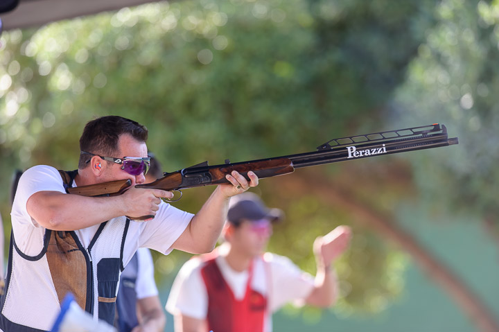 NICOSIA - OCTOBER 17: Gold medalist Steven SCOTT of Great Britain competes in the Double Trap Men Finals at the Nicosia Olympic Shooting Range during Day 1 of the ISSF World Cup Final Shotgun on October 17, 2015 in Latsia - Nicosia, Cyprus. (Photo by Nicolo Zangirolami)